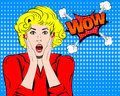 Wow. Wow face. Wow expression. Surprised woman with open mouth vector. Pop art wonder woman. Wow emotion. Wow Comic Royalty Free Stock Photo
