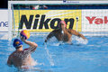 Wpo usa v macedonia th world aquatics championships rome jul italy genai kerr team player prepares for a shot from nebojsa milic Stock Photos