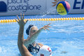 Wpo world aquatics championship china vs usa jul rome italy team player heather petri throws the ball while competing in the Royalty Free Stock Images