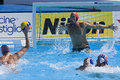 Wpo world aquatics championship usa vs croatia jul rome italy team goalkeeper merrill moses prepares for a shot from miho boskovic Stock Images