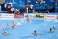 Wpo world aquatics championship usa vs germany jul rome italy team player merrill moses makes a save as his team watch on during Royalty Free Stock Photos
