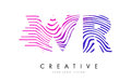 WR W R Zebra Lines Letter Logo Design with Magenta Colors Royalty Free Stock Photo