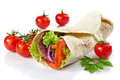 Wrap with meat and vegetables on a white background Stock Photo