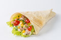 Wrap with salad on white background Royalty Free Stock Image