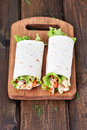Wrap sandwiches with chicken meat Royalty Free Stock Photo