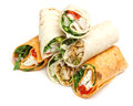 Wrap sandwiches variety of with chicken and cheese Royalty Free Stock Images