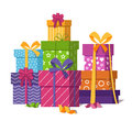 Wrapped gift boxes pile isolated on white background