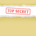 Wrapped paper and stamp the torn yellow folder secrets white inside Royalty Free Stock Photography