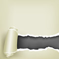 Wrapped paper the torn white roll and black background inside Stock Photography