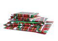 Wrapped presents books for holiday christmas season Stock Photos