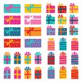 Illustrated set of colorful gift wrapped presents isolated on white Royalty Free Stock Photo