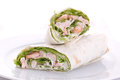 Wrapped sandwich with shrimp and lettuce over white background Royalty Free Stock Photography