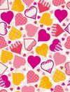Wrapping paper with  hearts,  Royalty Free Stock Photo