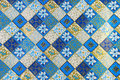 Wrapping paper ornamental in blue and gold color Royalty Free Stock Photos