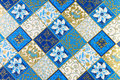 Wrapping paper ornamental in blue and gold color Stock Photos