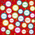 Wrapping paper with sold and discounts adverts Royalty Free Stock Photos