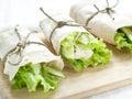 Wraps fresh tortilla with vegetables selective focus Stock Photos