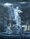 Wrath of neptune statue in the square art oil Royalty Free Stock Photography