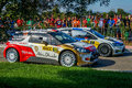 Wrc salou catalunya world rally championship in spain location the cars of the drivers jari matti latvala with the vw polo r and Royalty Free Stock Images