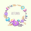 Wreath with autumn flowers. Hand drawn illustration with asters and herbs. Royalty Free Stock Photo