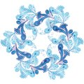 Wreath of frost patterns. Vector illustration