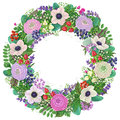 Wreath with buttercup and anemone.
