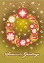 Wreath of Christmas gold balls Stock Photography