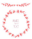 A wreath circle frame and frame border with the watercolor red floral branches on a white background garland hand drawn in place Stock Image