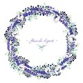 Gouache floral wreath with anemones and lavender. Hand-drawn clipart for art work and weddind design.