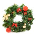 Wreath fir tree branch decoration christmas isolated over white background Royalty Free Stock Photo