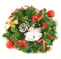 Wreath fir tree branch decoration christmas isolated over white background Royalty Free Stock Image