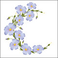 Wreath of flax flowers round ornament
