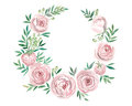 Wreath of flowers in watercolor style with white background.