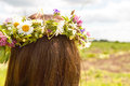 Wreath of flowers on womans head beautiful closeup young woman watching into the distance waiting for her young husband Royalty Free Stock Photos