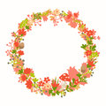 Wreath with forest vector elements, botanical and flowers. Magic forest vector template.