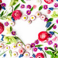 Wreath frame heart with roses, muscari, chamomile, ranunculus Royalty Free Stock Photo