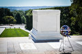 Wreath in Front of the Tomb of the Unknown Soldier at Arlington Cemetery Royalty Free Stock Photo