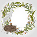 Wreath with heron bird, nest and swamp plants. Marsh flora and fauna. Royalty Free Stock Photo