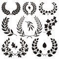 Wreath icons various isolated on white background Royalty Free Stock Photos