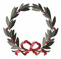 Wreath illustration of with bow Royalty Free Stock Photography