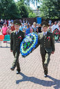 Wreath laying and memorial service at the independence day of the republic of belarus in the gomel region july celebration Stock Image