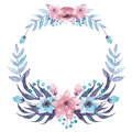 Wreath With Light Blue And Pink Flowers