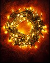 Wreath made of Christmas Lights. Royalty Free Stock Photo