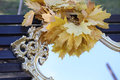 Wreath from maple leaves on a mirror in sky reflexion Royalty Free Stock Photo