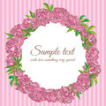 Wreath of peony flowers vector frame illustration Stock Photography