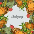Wreath with pumpkins, corn and apples. Royalty Free Stock Photo
