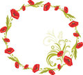 Wreath with red poppies illustration Stock Photo