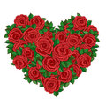 Wreath in the shape of a heart of red roses. Stock Photos