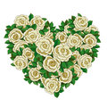 Wreath in the shape of heart of white roses. Stock Photography