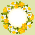 Wreath of spring flowers beautiful yellow and white daffodils Stock Photography